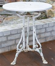 Sale 8530A - Lot 334 - An antique French cast iron table with limestone top, H 73 x Diam 60cm