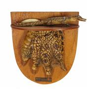 Sale 8758 - Lot 44A - Mounted Crocodile Foot with a Hatchling and Claw