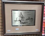 Sale 8853 - Lot 2022A - Russell Drysdale Caretaker and his Daughter, Whipple Creek Bore etching on sterling silver, ed. 951/1000.