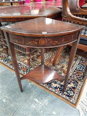 Sale 8868 - Lot 1075 - Victorian Inlaid Rosewood Corner Table, with floral frieze, tapering legs & shaped lower tier