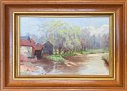 Sale 8964 - Lot 2016 - Percy Tarrant Mill on the Stream oil on board, 21 x 28cm (frame), signed lower right