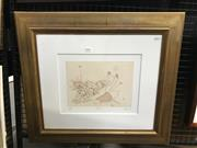 Sale 8990 - Lot 2050 - Bruce Petty Footy etching ed. 99/99,  57 x 64cm (frame) signed