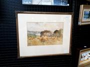 Sale 9061 - Lot 2028 - Artist Unknown Harvest time, Melford River watercolour, frame: 42 x 53 cm, signed lower right, titled lower left