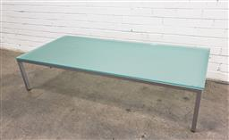 Sale 9102 - Lot 1111 - Glass top coffee table over metal base (h:38 x w:170 x d:78cm)