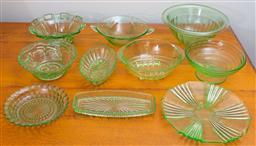 Sale 9103M - Lot 734 - A large collection of green glasswares including mainly salad bowls (approx 10 pieces) Width of largest 27cm