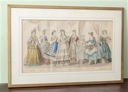 Sale 9120H - Lot 324 - An antique hand coloured engraving of ladies of the French court. Frame size 34cm x 53cm