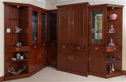 Sale 9155H - Lot 14 - A custom built bar unit/display cabinet, Height 220cm, bar unit opening to reveal glass shelves and a mirrored back