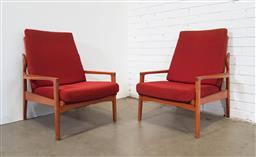 Sale 9151 - Lot 1018 - Pair of vintage teak lounge chairs (h82 x w72 x d70cm)