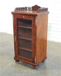 Sale 9162 - Lot 1084 - Victorian Figured Walnut Music Cabinet, with pierced gallery (slight loss), with gilt brass mounts & glass panel door, enclosing lab...