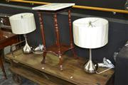 Sale 7981A - Lot 1003 - Pair of Chrome Table Lamps with Shades