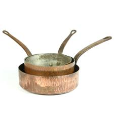 Sale 8351A - Lot 75 - Set of Three Graduated French Copper Saucepans diameter 19-25cm depth 9-7cm(approx weight 6kg)