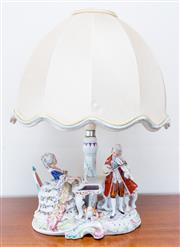 Sale 8369A - Lot 6 - A Dresden porcelain lamp of a musical group, total H approx 50cm, impressed mark MANY G&R, 19773