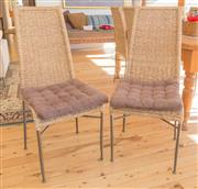 Sale 8380A - Lot 20 - A set of 10 rattan high back dining chairs on metal legs, H of back 108cm