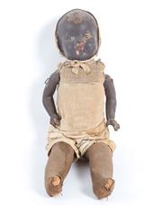 Sale 8575J - Lot 130 - A Victorian doll of ebony colour, the face and articulated arms composed of papier mache, H 50cm