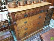 Sale 8428 - Lot 1051 - Edwardian Elm Chest of Drawers, with two shaped carved frieze drawers & three long drawers.