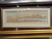Sale 8563T - Lot 2237 - Jon Beale, City View, 1982, Watercolour and ink, 16 x 57cm, signed and dated lower left