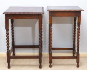 Sale 8677B - Lot 813 - A non matching pair of Jacobean style oak lamp tables, taller 74cm one 43 x 43cm the other 47cm
