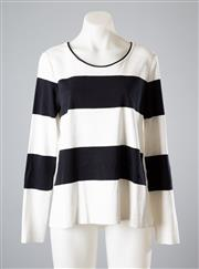 Sale 8661F - Lot 41 - A Marccain striped cotton top with contrasting white polyester back, size N 3