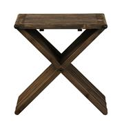 Sale 9010F - Lot 81 - A PAIR OF MODERN X SHAPED RECLAIMED ELM SIDE TABLES WITH INTERLOCK SLAT DESIGN AND METAL ACCENT IN BLACK. H:55W:55D:54cm