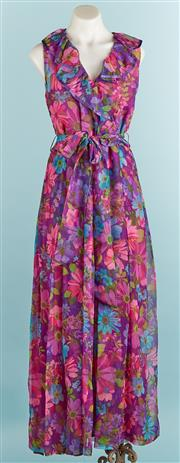 Sale 9071F - Lot 40 - A RETRO FLORAL SUMMER MAXI DRESS in purple and pink, with ruffles to collar, size s