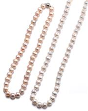 Sale 9090J - Lot 355 - TWO FRESHWATER CULTURED CIRCLE PEARL NECKLACES; 11mm ovoid white pearls to bolt ring clasp, length 80cm, and 11.6mm ovoid pinkish cr...