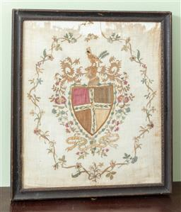 Sale 9120H - Lot 325 - An antique Continental framed fragment of an embroidered silk crest. Frame size 40cm x 36cm