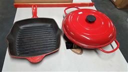 Sale 9176 - Lot 2328 - Cast iron Crofton skillet together with a baking dish