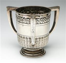 Sale 9192 - Lot 55 - A Victorian Silver On Copper Loving Cup With Three Handles, Ornately Engraved With Foliage, G & S Ltd, C1880s (H:18cm)
