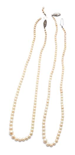 Sale 9260H - Lot 366 - Two vintage graduated cultured Akoya pearl necklaces; 3-7.5mm round cultured pearls with pearl clasp and marcasite clasp (broken str...