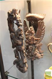 Sale 8217 - Lot 112 - Timber Pair of Carvings