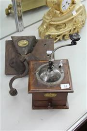 Sale 8261 - Lot 82 - Timber Table Coffee Grinder with a Wall Mountable Example