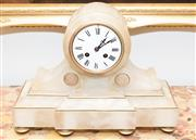Sale 8341A - Lot 59 - An antique French 8 day Napoleon III alabaster mantle clock, with key and pendulum, H 37 x W 28cm