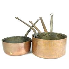 Sale 8351A - Lot 76 - Set of Five Graduated French Copper Saucepans diameter 24-30cm depth 11-15cm(approx weight 12kg)