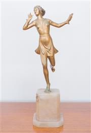 Sale 8369A - Lot 7 - A Deco style spelter figure of a scantily clad dancer on onyx octagonal base, total H 35cm