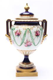 Sale 8710 - Lot 55 - Royal Worcester Vase & Cover in Sevres Style