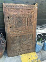 Sale 8714 - Lot 1095 - Moroccan Low Solid Timber Door, with applied geometric motifs, ex Gallery Nomad