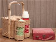 Sale 8984H - Lot 82 - A small square form picnic case  with red cloth cover, together with a cane example with two flasks. Height of hamper 50cm