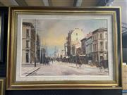 Sale 8995 - Lot 2039 - J Hansen Yesteryear Castlereagh Street, Sydney from King Street oil on board, 70 x 94cm (frame)  signed and dated 1986 lower right