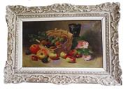Sale 9040H - Lot 50 - Leon Leblanc 1828-1900. - French still life in a carved French frame 36 x 55 cm