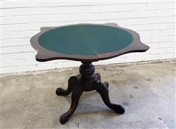 Sale 9097 - Lot 1030 - Victorian Serpentine Fronted Roswood Card Table, with green baize interior, raised on a turned pedestal with outswept legs (h:...