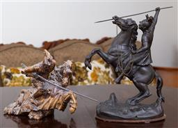 Sale 9103M - Lot 735 - A spelter figure of a centurion on a horse together with a ceramic figure of St. George