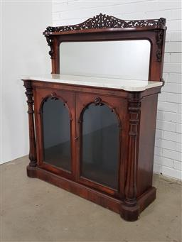 Sale 9162 - Lot 1085 - Good Victorian Rosewood Credenza, the low mirror back with shelf & pierced gallery, above a white marble top & two arched glass pane...