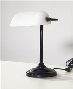 Sale 9240 - Lot 1068 - Vintage bankers lamps with milk glass shade (h37cm)