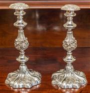 Sale 8284A - Lot 65 - A pair of heavy antique silverplated ornate floral and foliate decorated candlesticks with removable drip pans. Ht: 30cm