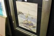 Sale 8332 - Lot 2041 - Artist Unknown - Coastal Scene, watercolour (AF), 34 x 37cm, signed lower