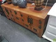 Sale 8620 - Lot 1027 - Elm Chinese Cabinet with Five Doors & Drawers