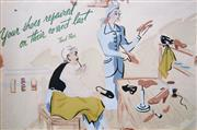 Sale 8916A - Lot 5047 - Artist Unknown (C20th) - Your Shoes Repaired On Their Correct Last (Farmers Shoes At David Jones), c1940 34.5 x 51.5 cm
