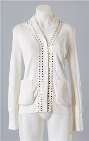 Sale 8661F - Lot 58 - A Burberry knitted cotton cardigan with stud detailing to the centre front and neckline, size M