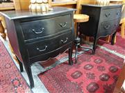 Sale 8934 - Lot 1098 - Pair of Black Painted Bedsides with Two Drawers (H: 72 W: 62 D: 40cm)