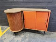 Sale 9002 - Lot 1002 - Vintage Bar Unit with Tambour Door and Dancing Figures to Front (h:95 x w:145 x d:60cm)